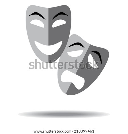 Sad and happy theater masks on white background with shadow - stock vector