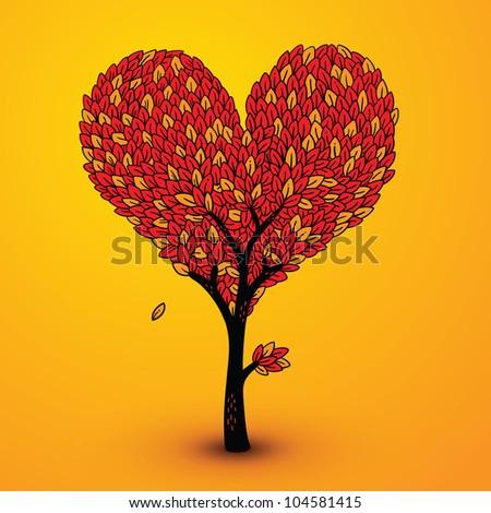Sad autumn heart-shaped tree - stock vector