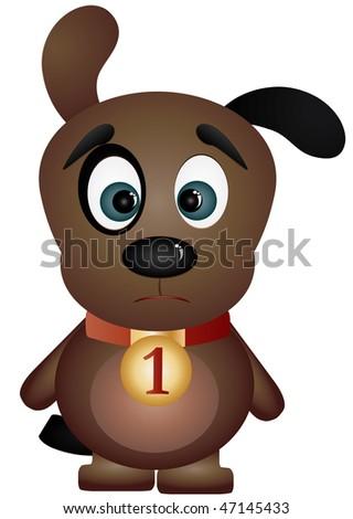 Sad black-eyed puppy, vector illustration - stock vector