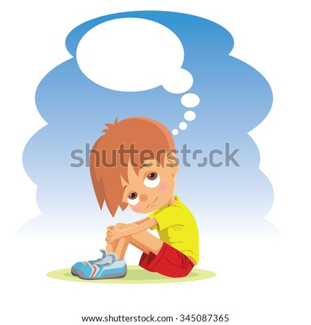 Sad boy thinking about something. Vector illustration - stock vector