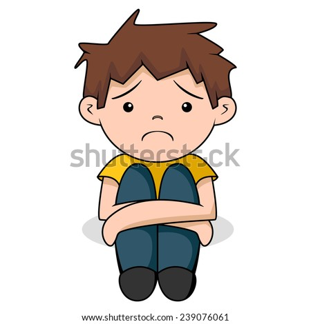 Sad boy, vector illustration, isolated white background - stock vector