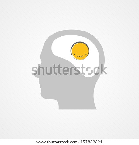 Sad brain - stock vector