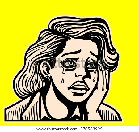 Sad broken-hearted girl crying and sobbing face pop art vintage comic book style vector illustration - stock vector