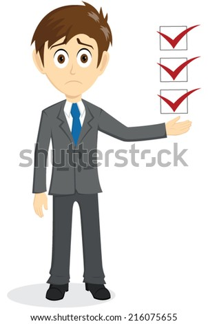 Sad Businessman Explain With Floating Checklist - stock vector