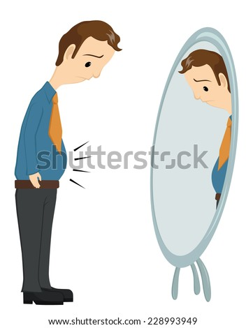 Sad Businessman Look At His Big Belly In Front Of Mirror - stock vector