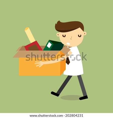 Sad businessman walk out from work,vector,illustrator - stock vector