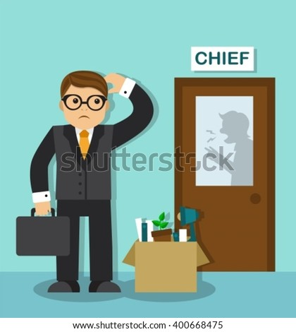 sad businessman with a box of things is at the door of the chief. Behind the door is visible silhouette of the boss, he shouts and gesticulates - stock vector