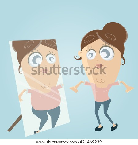 sad cartoon woman looks in the mirror and thinks she's fat - stock vector