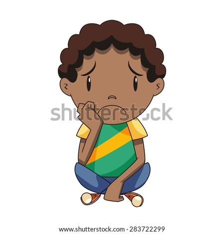 Sad child, vector - stock vector