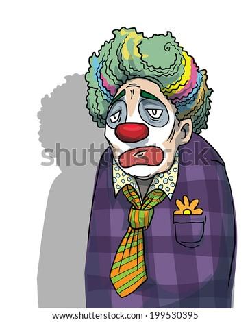 Sad clown, vector illustration - stock vector