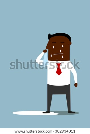 Sad crying african american businessman standing in a pool of his tears. For depression or negative emotions concept design, cartoon flat style - stock vector
