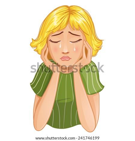 Sad crying cartoon girl. Vector image of young cartoon girl who cries, eps10 - stock vector