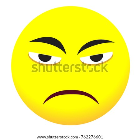 Sad Face Icon Yellow Emoji Symbol Stock Vector Royalty Free