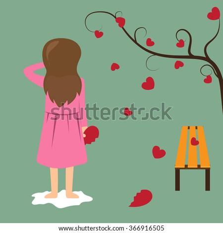 Sad girl hold red broken heart. valentine concept vector illustration. - stock vector