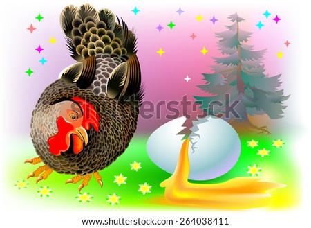 Sad hen looking at cracked egg, vector cartoon image - stock vector