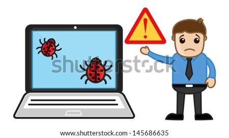Sad Man Computer Corrupt - Virus - Vector Illustration - stock vector