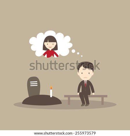 Sad man sitting in cemetery - stock vector