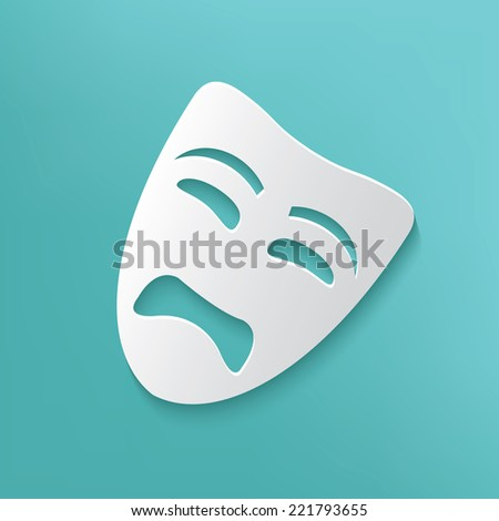 Sad mask symbol on blue background,clean vector - stock vector