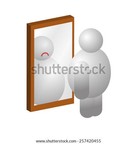Sad obese man in front of a mirror  - stock vector