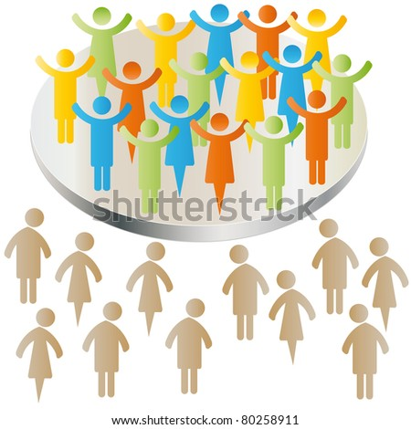 Sad peoples exclusion with group - stock vector
