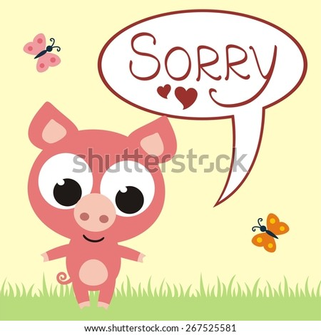 sad pig says sorry - vector illustration - stock vector