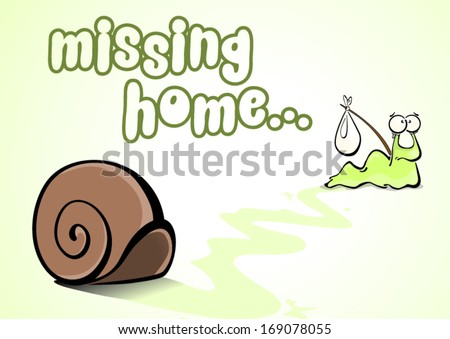 sad snail leaving and missing his home - stock vector