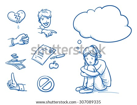 Sad teenage girl having problems, with thought bubble and icons. Hand drawn cartoon doodle vector illustration. - stock vector
