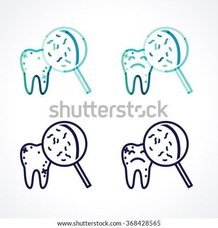 Sad teeth with bacteria and  magnifying glass. Caries. Diagnostics. Transparent overlapping linear vector illustration. Green, blue, turquoise, dark-blue linear tooth sign, symbol, icon, logo - stock vector