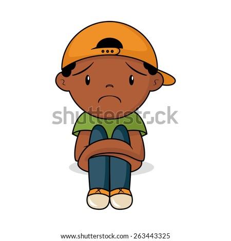 Sad toddler, vector illustration - stock vector