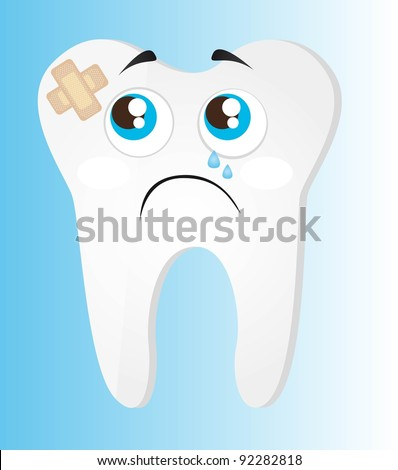 sad tooth with adhesive bandage over blue background. vector - stock vector