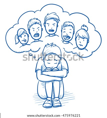 Sad young boy sitting in huddled on the floor, with thought bubble of bullying kinds. Hand drawn cartoon doodle vector illustration.