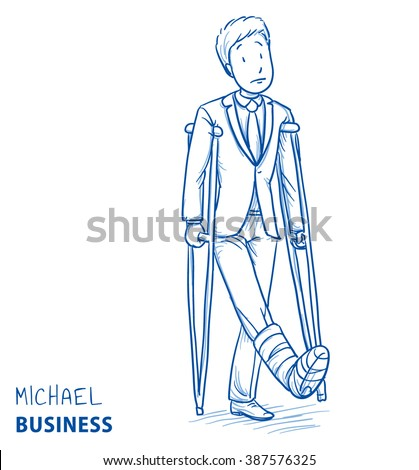 Sad young man in business clothes with broken leg and crutches. Hand drawn line art cartoon vector illustration. - stock vector