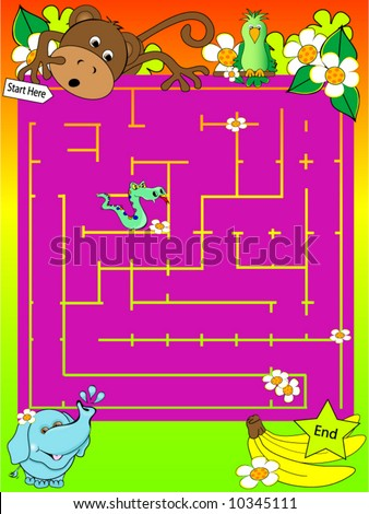 Safari Animal Maze Vector. - stock vector