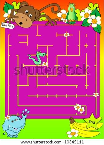 Safari Animal Maze Vector. - stock vector