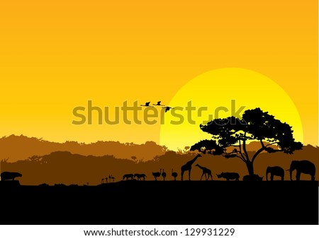 Safari animals silhouette at sunset, vector - stock vector