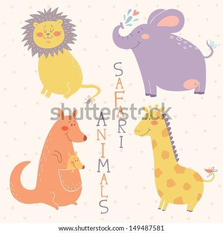 Safari animals vector set - stock vector