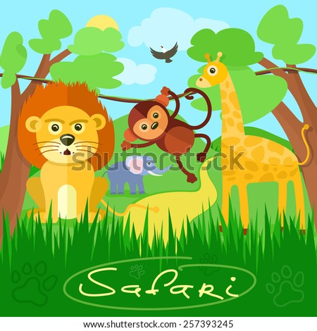 Safari concept. Cute african safari animals cartoon characters scene on background with trees - stock vector