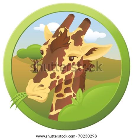 Safari Giraffe - vector - stock vector