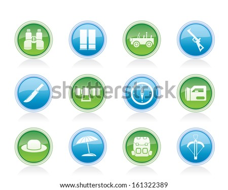 safari, hunting and holiday icons - vector icon set - stock vector