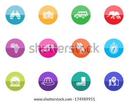 Safari icons in color circles. - stock vector