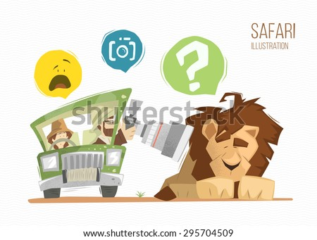 Safari illustration. Man and woman happy family on safari. Brave photographer making a photo of wild sleeping lion. - stock vector