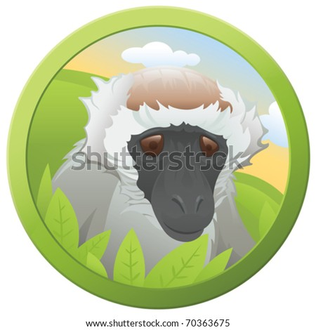 Safari Monkey - vector - stock vector