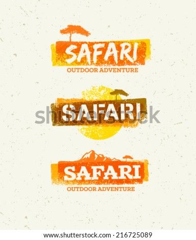 Safari Outdoor Adventure Vector Design Elements. Natural Grunge Concept on Recycled Paper Background - stock vector