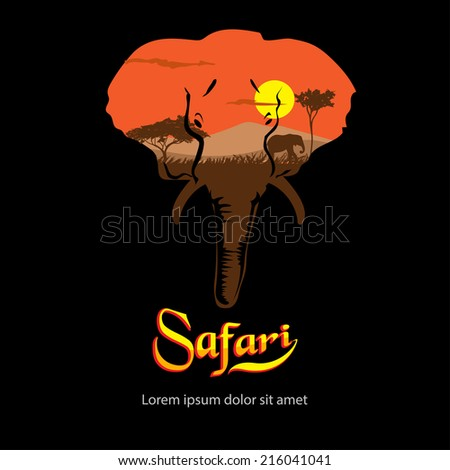 Safari. Silhouette of elephant African landscape. - stock vector