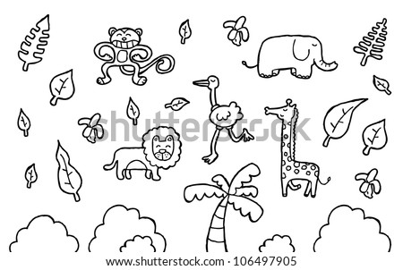safari theme - stock vector