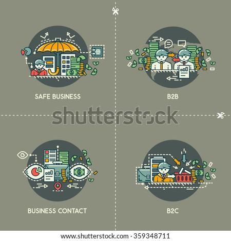 Safe business, b2b, business contact, b2c - stock vector