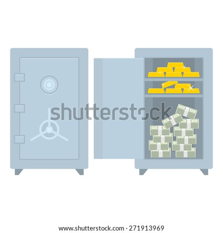 Safe closed open with money and gold - stock vector