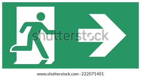 Safe condition sign,Emergency exit direction - stock vector