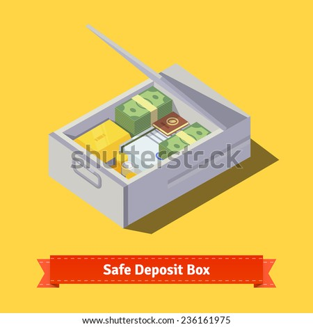 Safe deposit box full of money, gold, valuables and papers. Flat style illustration. EPS 10 vector. - stock vector