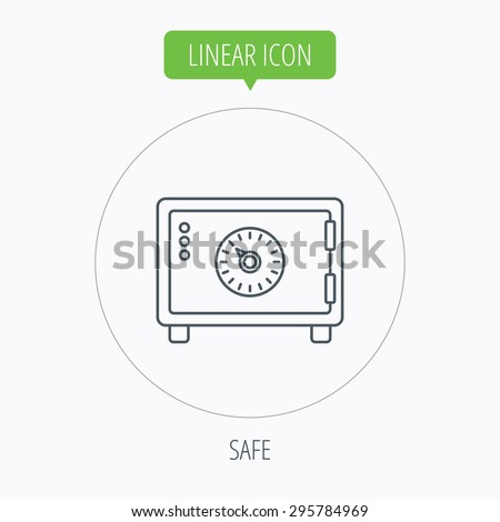 Safe icon. Money deposit sign. Combination lock symbol. Linear outline circle button. Vector - stock vector